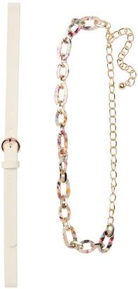 Linea Pelle Resin Chain & Plain Belt 2-Pack