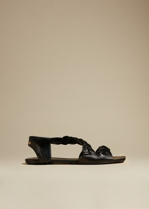 KHAITE The Torrance Sandal in Black Leather