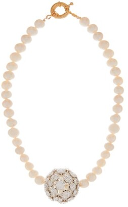 Timeless Pearly - Crystal And Freshwater-pearl Gold-plated Necklace - Womens - Pearl