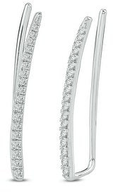 Cali Trove 10K White Yellow Rose Gold 1/4ct TDW Round White Diamond Ear Climbing Crawler Earring