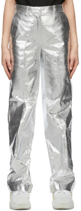we11done Silver Metallic Straight Trousers
