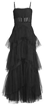 BCBGMAXAZRIA Women's Layered Tulle & Mesh Sleeveless Corset Gown