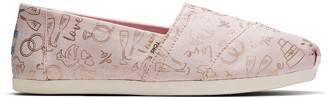 Toms Pink and Gold Wedding Love Women's Classics
