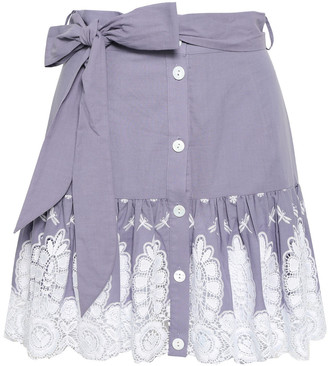 Miguelina Guipure Lace And Embroidered Cotton Mini Skirt