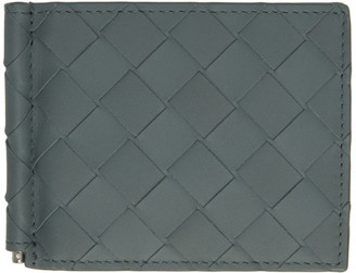 Bottega Veneta Grey Intrecciato Money Clip Bifold Wallet