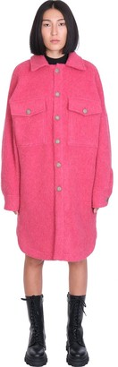Palm Angels Logo Over Shirt Coat In Rose-pink Wool