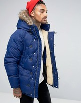 Pull&Bear Parka With Detachable Faux Fur Hood In Navy