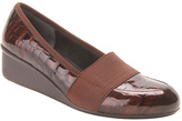 Ros Hommerson Brown Croc Patent Stretch Erica Leather Wedge