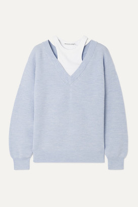Alexander Wang Layered Merino Wool And Stretch Cotton-jersey Sweater - Sky blue