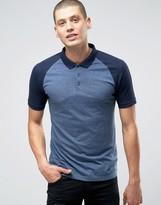 Asos Contrast Raglan Polo Shirt In Blue And Denim
