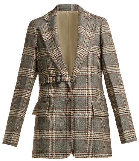 Joseph Gemina Single Breasted Checked Wool Blazer - Womens - Grey Multi