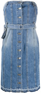 Sjyp Button-Down Strapless Denim Dress