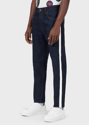 Emporio Armani Tapered Fit J77 Denim Jeans With Side Bands