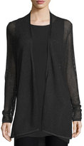 Eileen Fisher Pointelle Long Tencel® Cardigan, Ash/Black