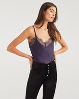 7 For All Mankind 7fam7 Lace Trim Cami in Royal Purple