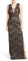 Aidan Mattox Women's Illusion Neck Lace Gown