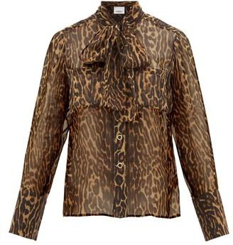 Burberry Amelie Leopard-print Tie-neck Mulberry-silk Blouse - Womens - Leopard