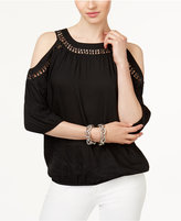 INC International Concepts Crochet-Trim Cold-Shoulder Top, Created for Macy's