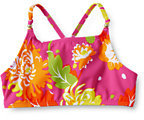 Classic Little Girls' Saltwater Taffy Beaded Bikini Top-Dark Tangerine Tropical Floral