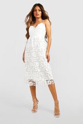 boohoo Strappy Crochet Lace Skater Midi Dress