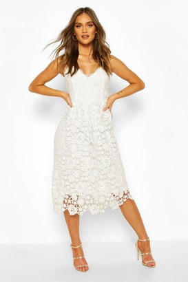boohoo Strappy Crochet Lace Skater Midi Dress