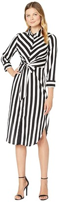 Vince Camuto Long Sleeve Bold Stripe Tie Front Shirtdress (Rich Black) Women's Dress