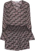 10 Crosby by Derek Lam Smocked printed silk crepe de chine mini dress