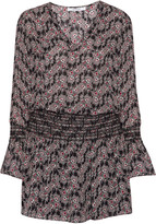 Derek Lam 10 Crosby Smocked printed silk crepe de chine mini dress