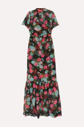 Erdem Ciella Tiered Floral-print Silk-chiffon Gown - Black