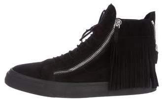 Giuseppe Zanotti Fringe-Trimmed High-Top Sneakers