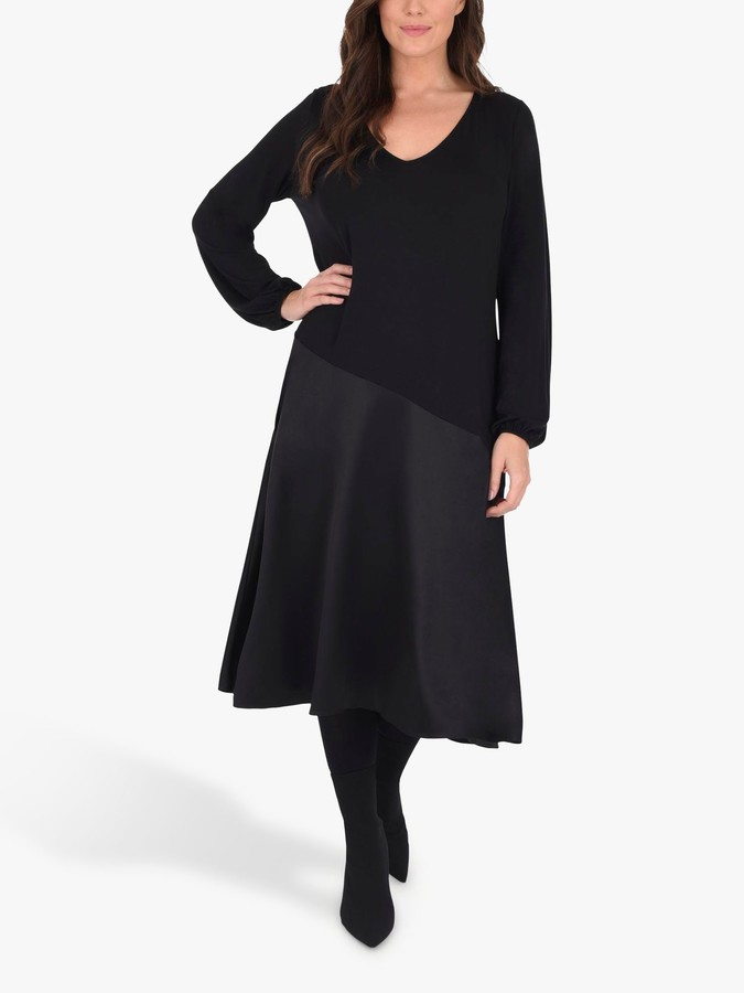 Live Unlimited Curve Satin Panel Jersey Midi Dress, Black