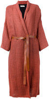 Masscob shawl lapel cardi-coat - women - Linen/Flax/Viscose/Polyamide/Cotton - 38