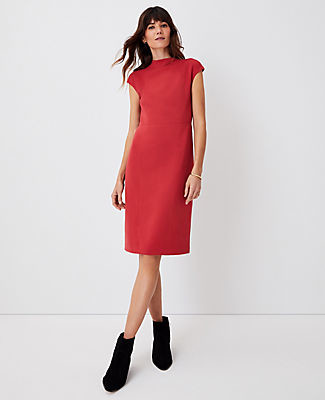 Ann Taylor Mock Neck Doubleweave Sheath Dress