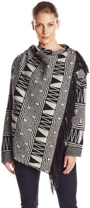 Heather B Women's Boiled Wool Aztec Fringe Jacket