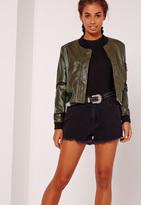 Missguided Faux Leather Bomber Jacket Khaki