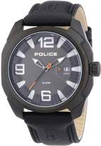 Police PL-13836JSB-61 Men's Texas Dial Leather Strap IP Steel Watch
