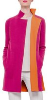 Akris Reversible Long-Sleeve Cashmere Colorblock Coat, Rose/Zinnia