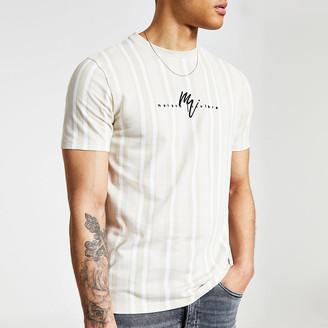 River Island Maison Riviera stone stripe slim fit T-shirt