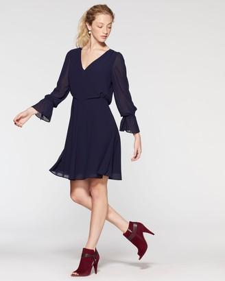 Vince Camuto Chiffon Flutter-Cuff Dress
