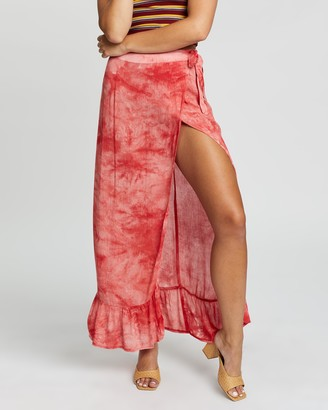 Glamorous Women's Red Maxi skirts - Maxi Coral Tie Dye Skirt - Size 8 at The Iconic