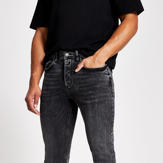 River Island Black acid wash Jimmy tapered cropped jeans