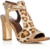 Donald J Pliner Tinna Leopard Print Calf Hair High Heel Sandals