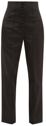 Racil Stevie High-rise Moire Trousers - Womens - Black