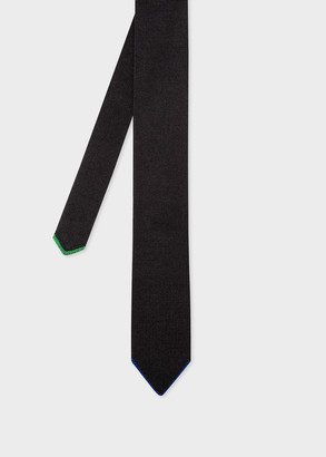 Men's Black Silk Knitted Tie With Contrast Tip
