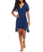 My Michelle Sequin Hearts Short Sleeve Wrap Dress