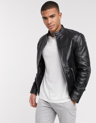 Barneys New York belted racer leather jacket with silver trims