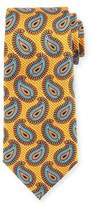 Ermenegildo Zegna Large Paisley Pines Printed Silk Tie, Yellow