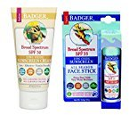 Badger SPF30 Sunscreen (2.9 oz) and SPF 35 Sport Sunscreen Face Stick (.65 oz)