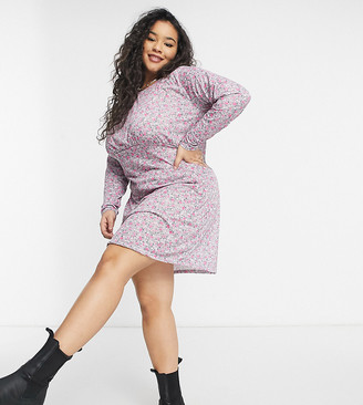 Wednesday's Girl Curve long sleeve mini dress in vintage floral