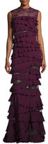 Elie Saab Ruffled Lace Sleeveless Mermaid Gown, Cherry